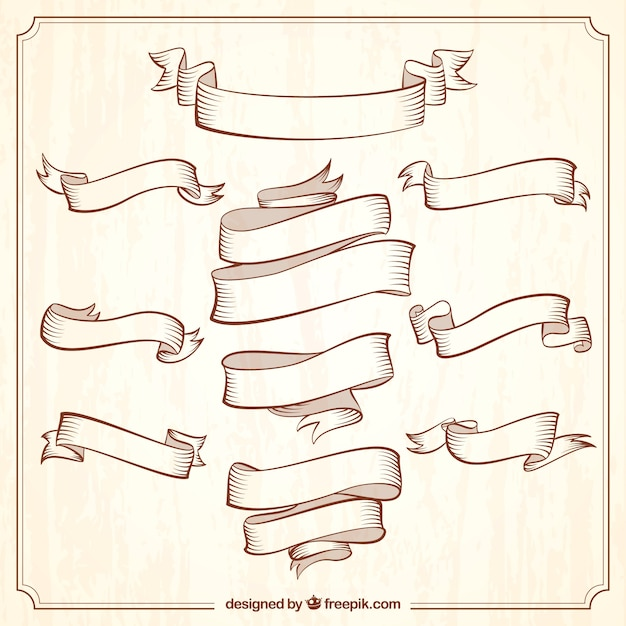 Collection of vintage ornamental ribbons Free Vector