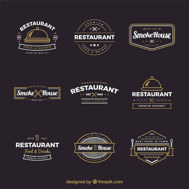 collection of vintage restaurant logos vector free download