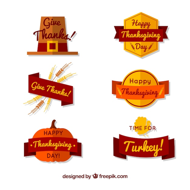 Collection of vintage thanksgiving badges in flat design