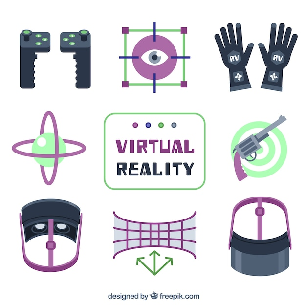Collection of virtual reality colored elements