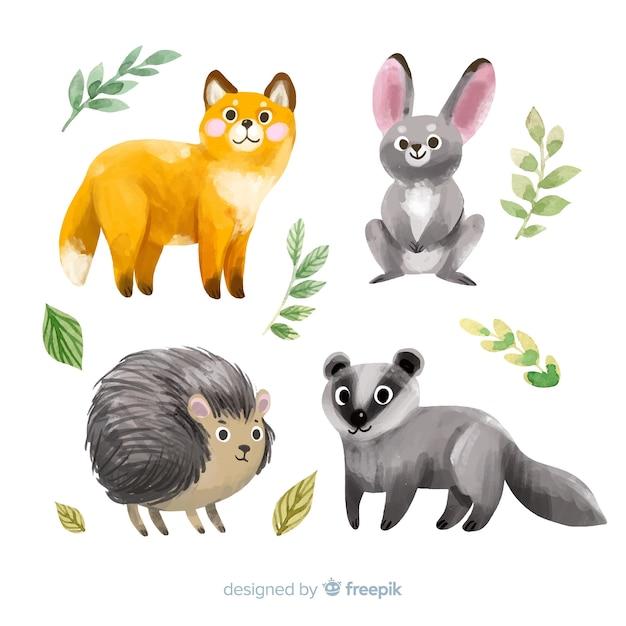 Коллекция акварельных осенних животных Бесплатные векторы