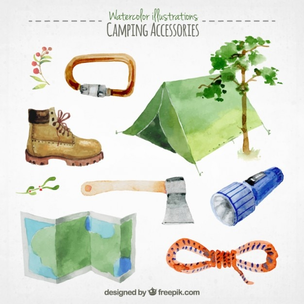 Collection of watercolor camping\ accessories