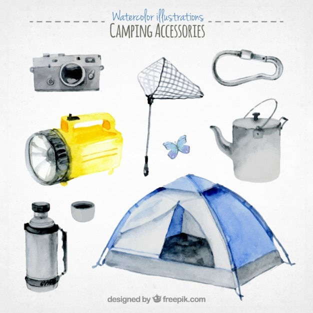Collection of watercolor camping\ equipment