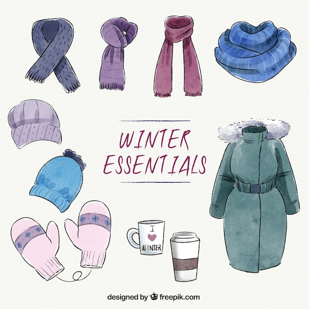 collection of watercolor essential winter clothes vector free download
