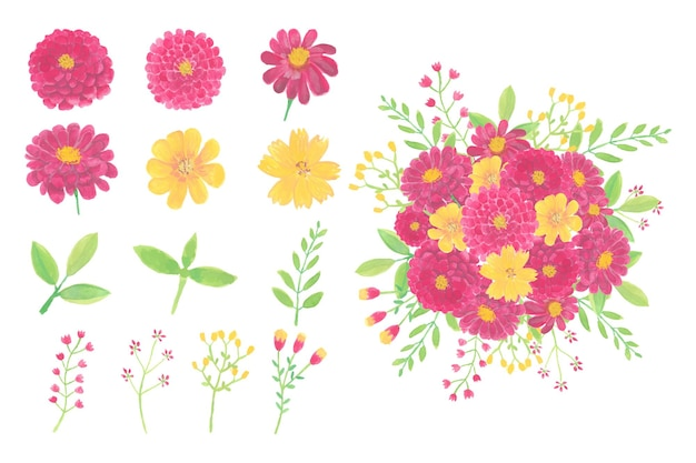 수채화 꽃 부케 흰색 절연의 컬렉션 프리미엄 벡터