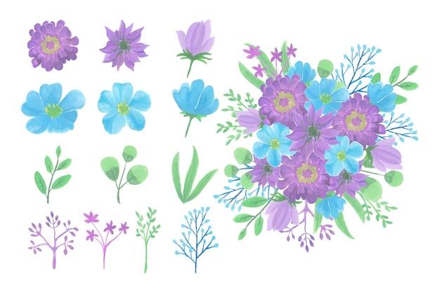 수채화 꽃 꽃다발의 컬렉션 프리미엄 벡터