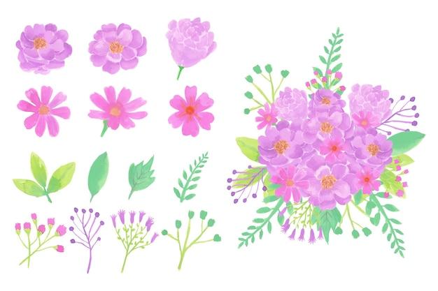 수채화 꽃 흰색 절연의 컬렉션 프리미엄 벡터