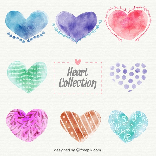 Collection of watercolor hearts Free Vector