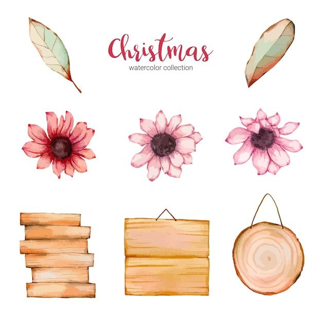 수채화 그림 아름다운 꽃의 컬렉션 무료 벡터