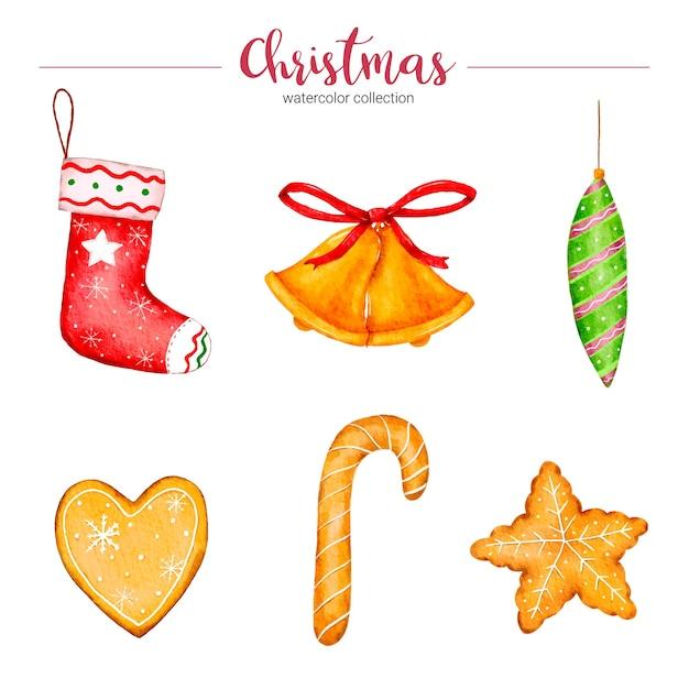 クリスマスの装飾の水彩イラストのコレクション 無料ベクター