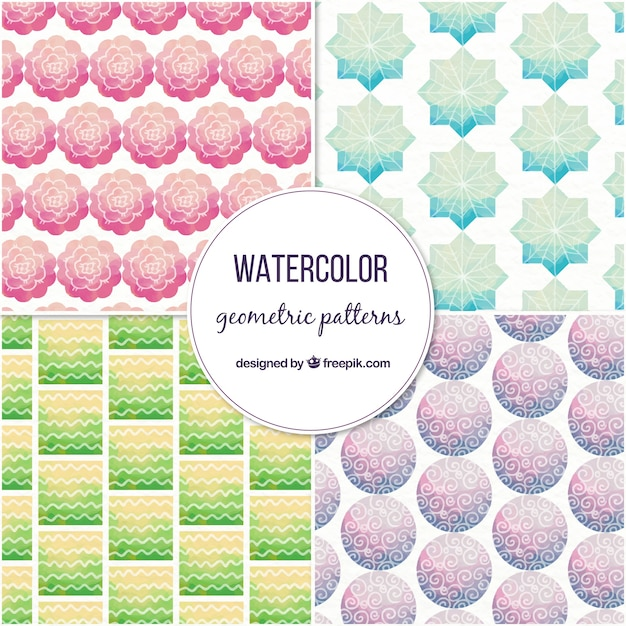 Collection of watercolor patterns with geometric shapes Free Vector