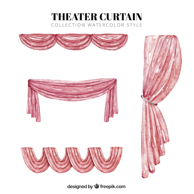 Collection Of Watercolor Theater Curtains Free Vector
