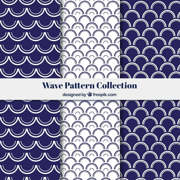 Collection of wave patterns with semicircular forms