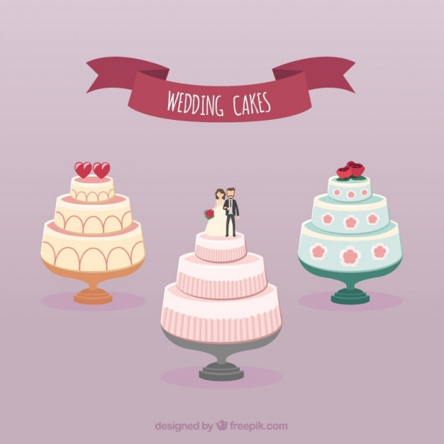 Collection Of Wedding Cakes Vector Free Download