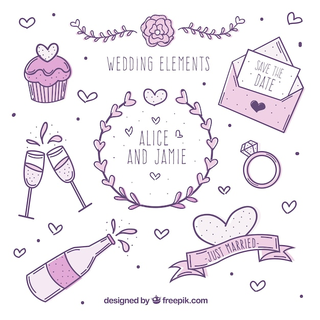Collection of wedding elements in purple tones Free Vector