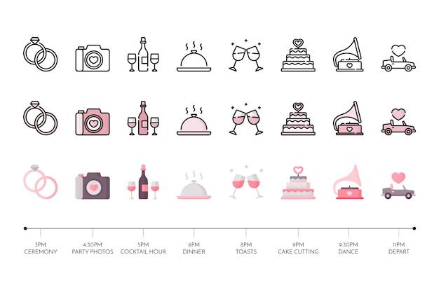 Коллекция свадебной иконы Бесплатные векторы