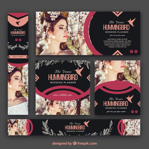 collection of wedding planner banner vector free download