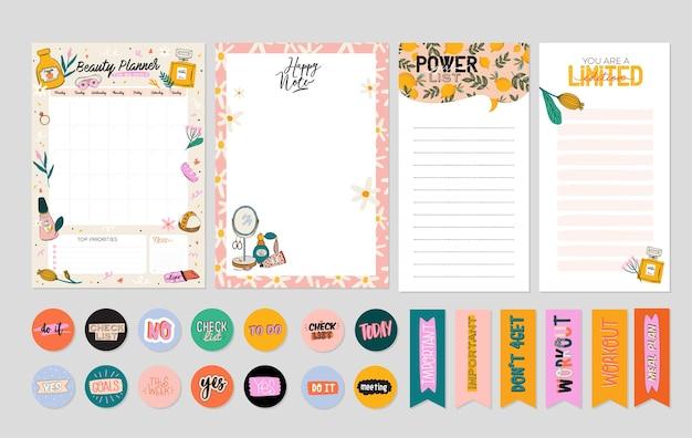 Коллекция еженедельного или ежедневного планировщика, бумага для заметок, список дел, шаблоны наклеек, украшенные симпатичным Premium векторы