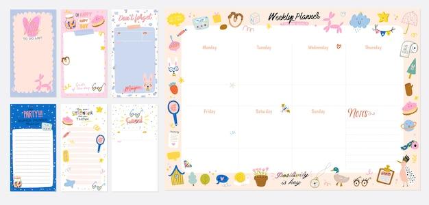 Коллекция еженедельного или ежедневного планировщика, заметок, списка дел, украшенных шаблонов наклеек Premium векторы