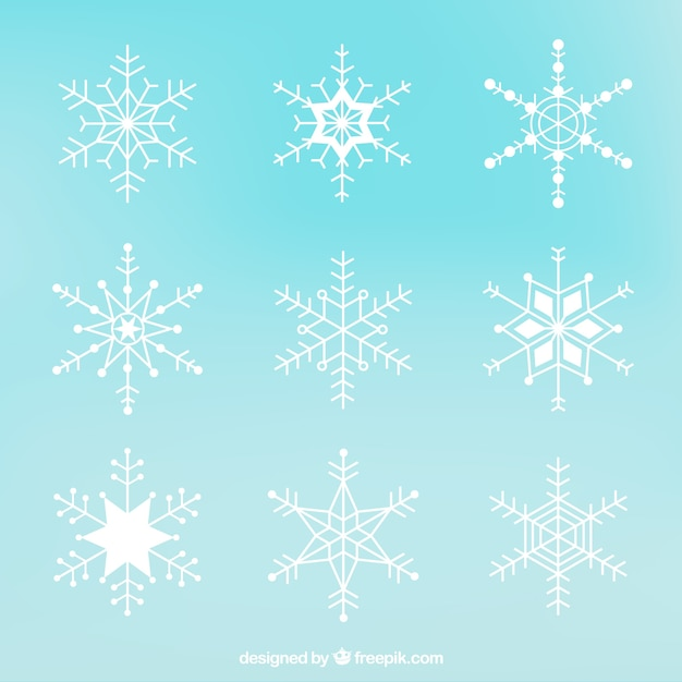 Collection of white snowflakes Free Vector