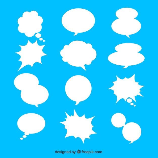 Collection of white speech bubble