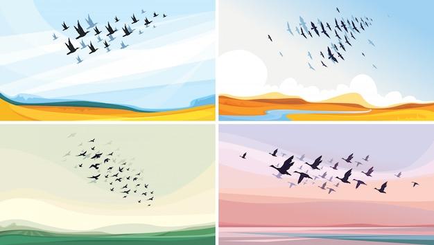 野生動物の風景のコレクション。空の渡り鳥。 Premiumベクター