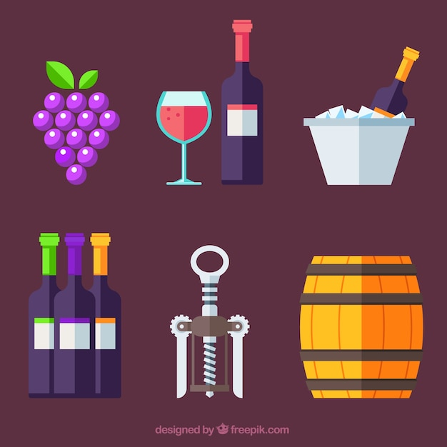 Collection of wine elements in flat\ style