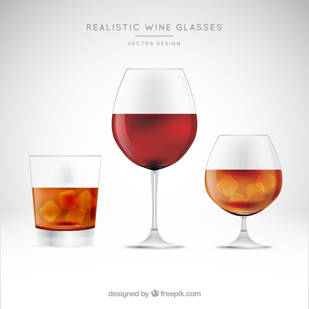 Collection of wine glasses in realistic\ style