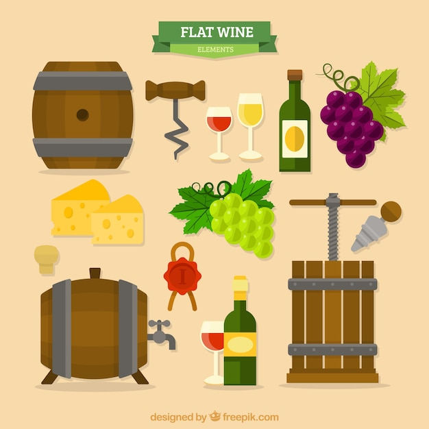 Collection of wine items barrels in flat design