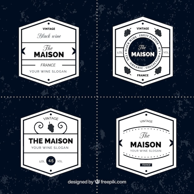 Collection of wine stickers in minimalist\ style