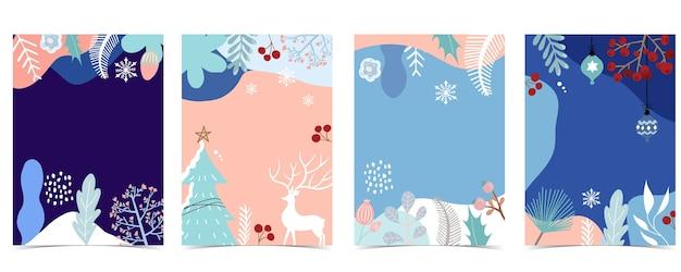 겨울 배경 컬렉션 나무, 무지개, 꽃, 잎으로 설정합니다. 프리미엄 벡터