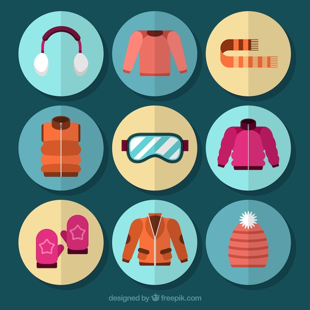 Collection of winter clothes and accessories in flat design