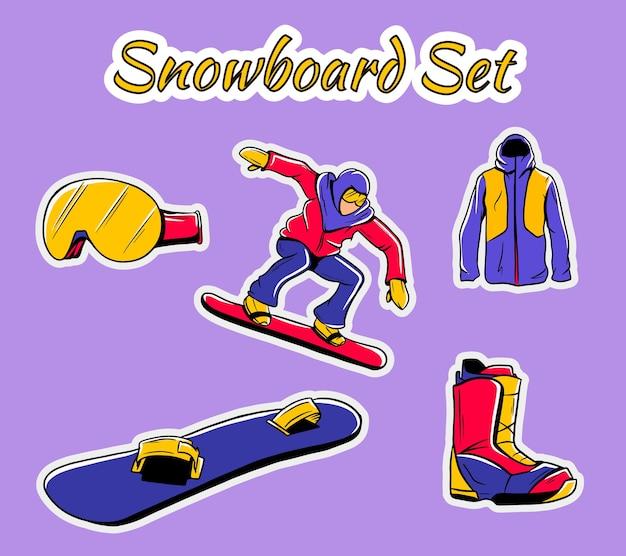 ウィンタースポーツのアイコンのコレクション。スノーボード用具セットが分離されました。スキーリゾート、山の活動、イラストのイメージの要素。ステッカーのセット。 Premiumベクター