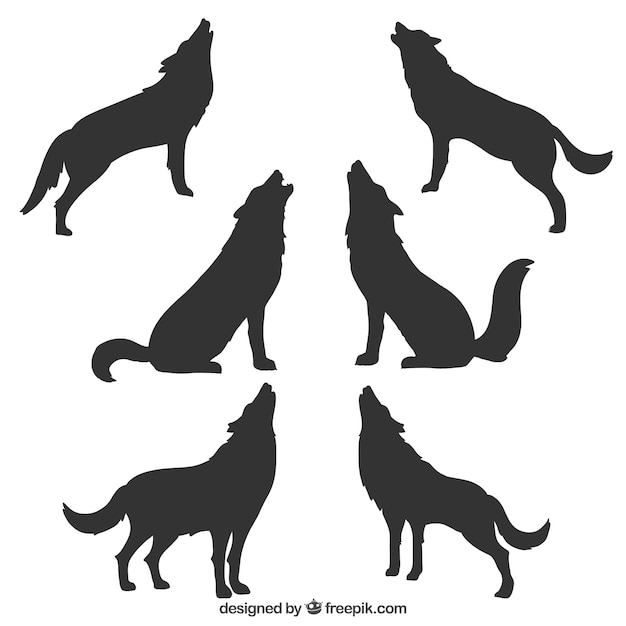 collection of wolf silhouettes free vector