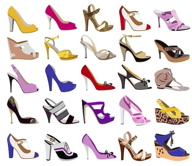 白で隔離される女性の靴のコレクション Premiumベクター