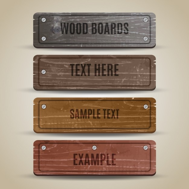 Collection of wooden board Free Vector