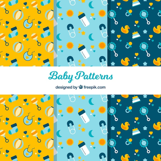 Collection of yellow and blue baby patterns Free Vector