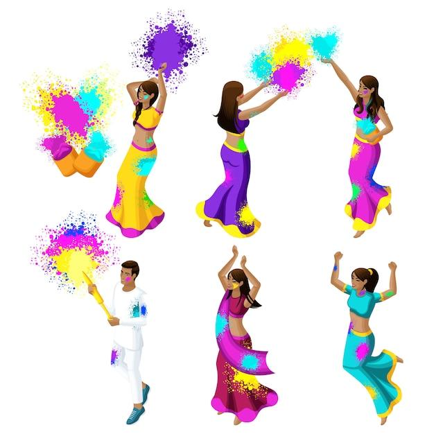 色、色粉、女の子、みんな、ジャンプ、花、幸福の祭りを祝うインドの若者のコレクション Premiumベクター