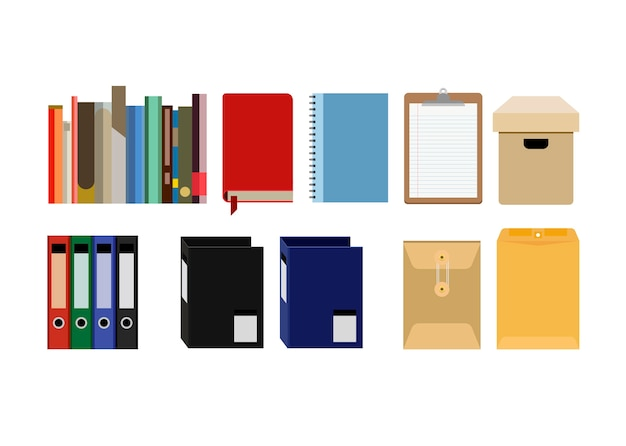 Collection of office supplies files Free Vector