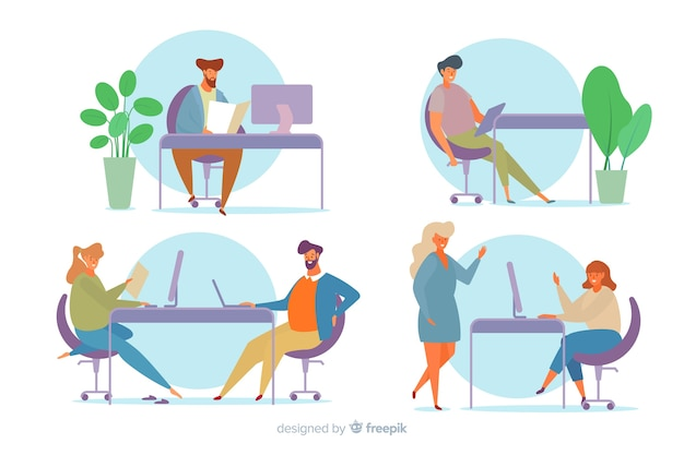 Collection of office workers sitting at desks Free Vector