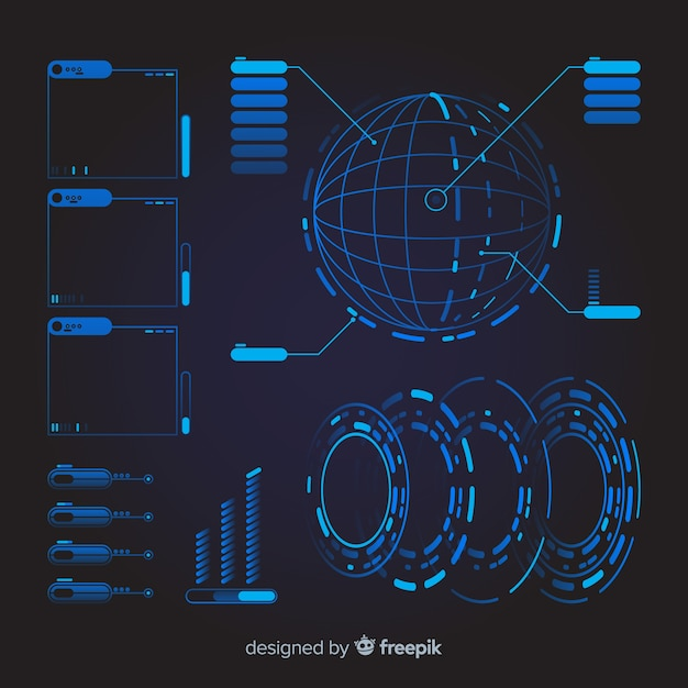 Collection offuturistic infographic element Free Vector