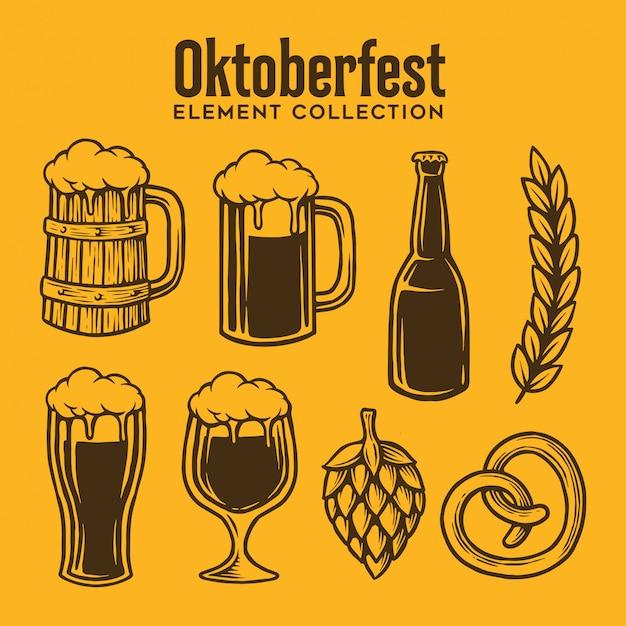 Collection of oktoberfest element Premium Vector