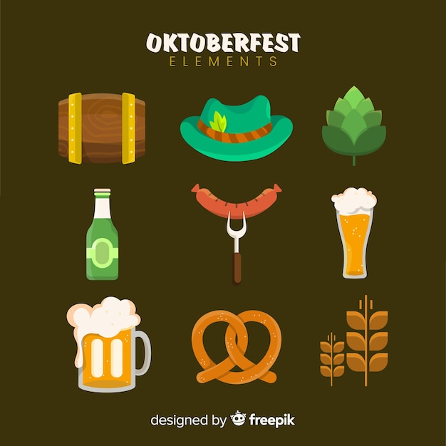 Collection of oktoberfest elements Free Vector