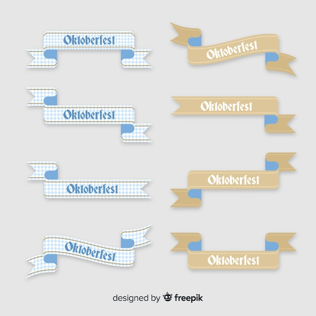 Collection of oktoberfest flat design ribbons Free Vector