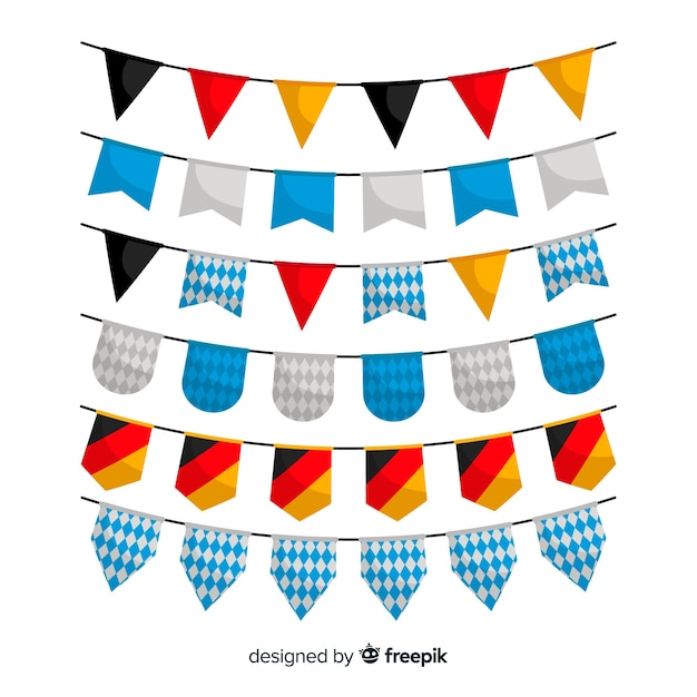 Collection of oktoberfest garland flat design Free Vector