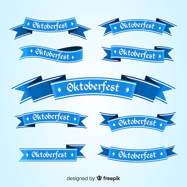 Collection of oktoberfest ribbons flat design Free Vector