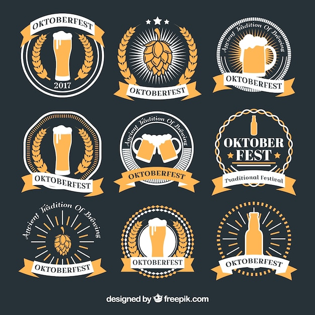 Collection of oktoberfest round stickers in gray and yellow Free Vector