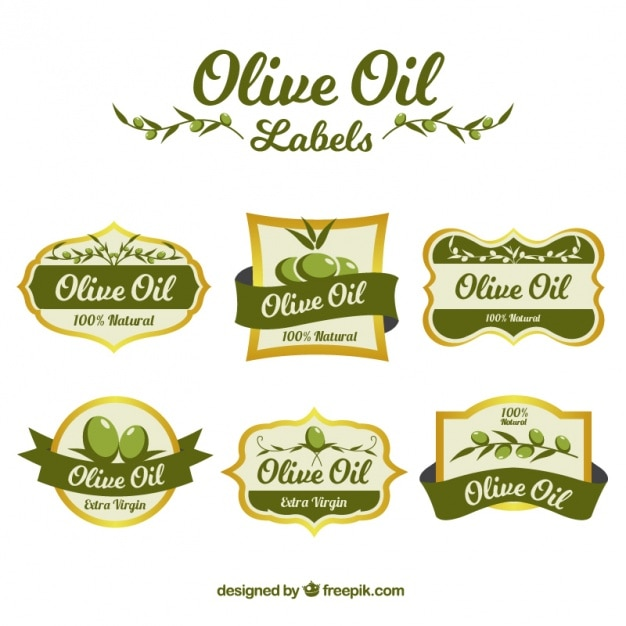 Collection of olive oil stickers Free Vector