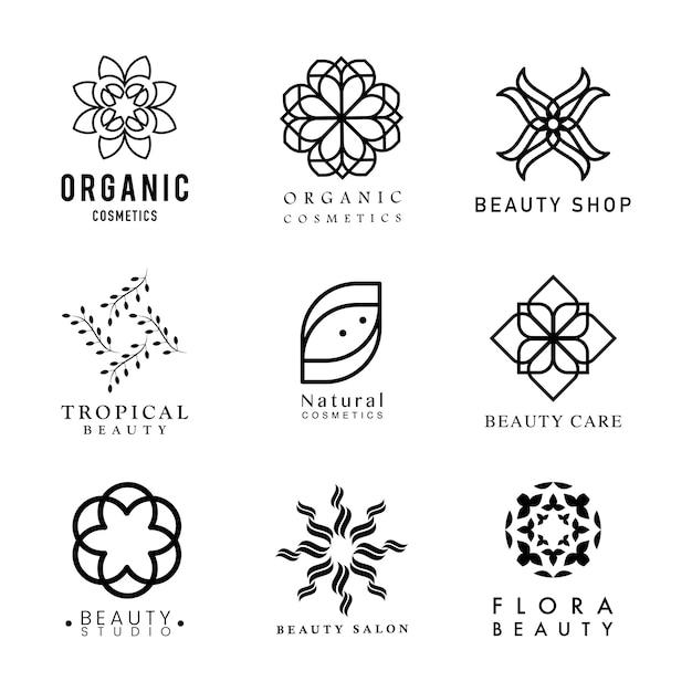 Collection of organic cosmetics logo vector Free Vector