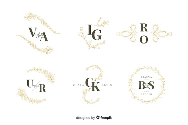 Collection of ornamental wedding monogram Free Vector